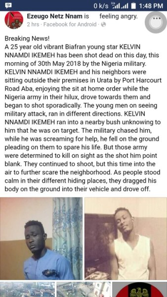 , #Biafra Sit-At-Home: Nigerian Army Shoots Man to Death In Aba, Abia State (Photos), Effiezy - Top Nigerian News & Entertainment Website