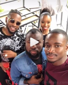 #BBNaija: Teddy-A, Bambam And Leo With Comedian, Lasisi Elenu (Photos)