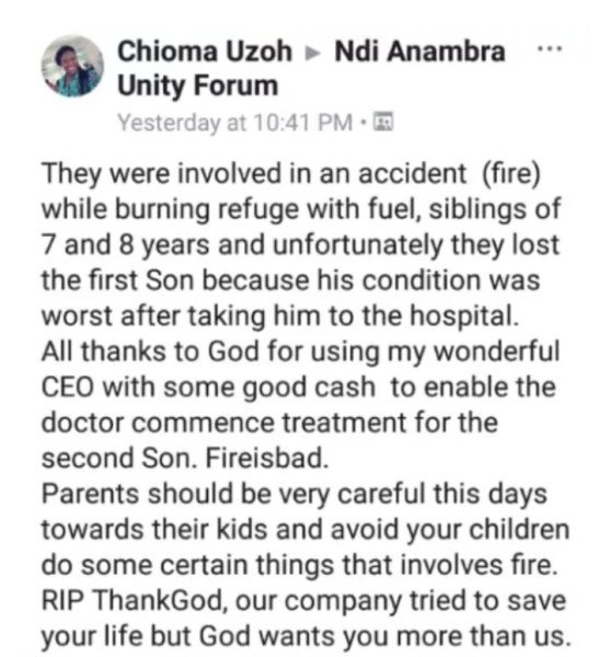 , Boy Dies While Burning Refuse With Petrol, Brother Critically Injured (Graphic), Effiezy - Top Nigerian News & Entertainment Website