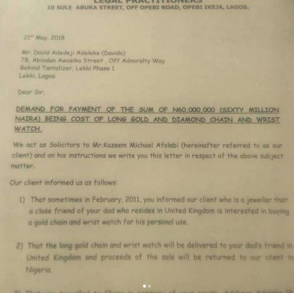 , Jeweler, Kaycee sues Davido for N60m, releases legal documents (Photos), Effiezy - Top Nigerian News & Entertainment Website