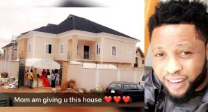 Super Eagles midfielder, Raheem Lawal builds a house for his mum (Photo)