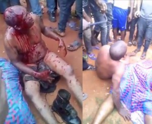 Policeman Stripped Unclad, Battered In Anambra For Accidentally Killing A Lady (Photos)