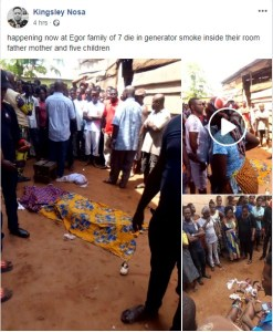 Tragedy As Family Of 7 Die From Generator Fumes (Graphic Photos, Video)