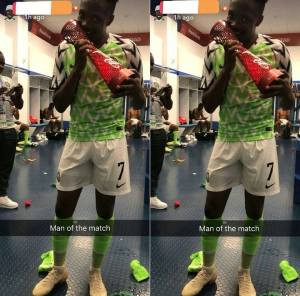 Ahmed Musa Flaunts His Man Of The Match Award After Iceland Win (Photos)