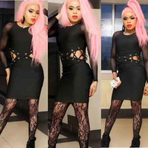 Nigerian Male Barbie, Bobrisky Flaunts Protruding Hips In Black Mini Gown (Photos)