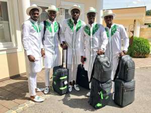 2018 World Cup: Super Eagles Fly To Russia Wearing Stylish Ankara Dresses (Photos)