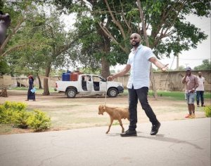 Banky W Takes A Stroll With a Goat (Video)