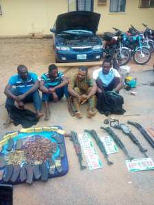 Armed Robbery Gang Arrested In Kwara; See How They Hid Their Guns. (Photos)