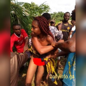 Married Woman Caught With Another Married Man In Enugu; Paraded Naked (Photos)