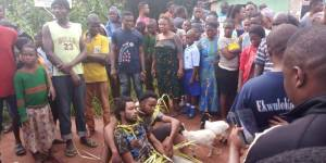 Men Who Stole Goats Caught By Owner While Selling Them At A Market (Photo)