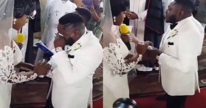 Comedian Ajebo Cries At His White Wedding To Uchechi Kalu (Photos, Video)