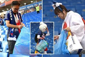 #BELJPN: Japanese fans seen cleaning the stadium even after losing (Photos)