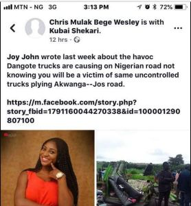 Engaged Lady Dies In Ghastly Accident Days After Posting Dangote, Gombe Accident