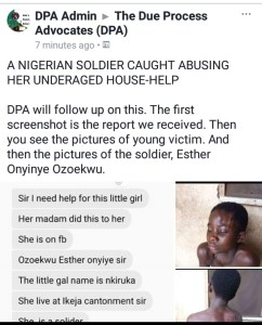 See How A Female Soldier Brutalized Her Househelp In Lagos (Photos)