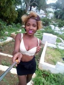 "Lady Takes Her ""Perfect Selfie"" In A Cemetery Wearing Bra And Mini Skirt (Photo)"