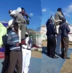 See Church Members Carrying Their Pastor While Preaching (Video)