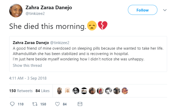 , Nigerian Lady Dies After Overdosing On Sleeping Pills To Take Her Life, Effiezy - Top Nigerian News & Entertainment Website