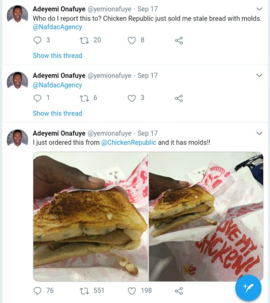 , Man Ordered Stale Bread From Chicken Republic. See What He Found Inside (photos), Effiezy - Top Nigerian News & Entertainment Website