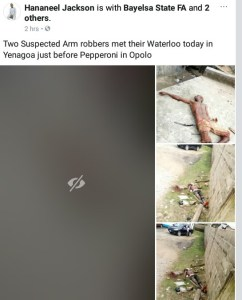 Two Suspected Armed Robbers Beaten To Death In Bayelsa (Graphic Photos)