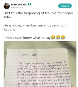 See Love Letter A Female Student Wrote To A Male Corper In Kaduna (Photo)