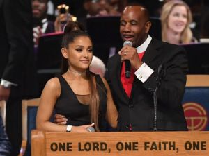 Bishop apologises for touching Ariana Grande's breast during Franklin's funeral