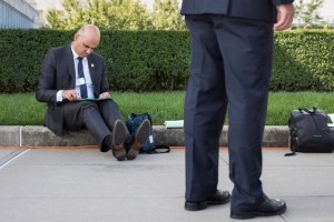 Swiss President, Alain Berset Spotted Reading His Notes On The Pavement Outside The #UnitedNations HQ