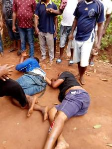 Armed Robbers Caught Stealing From Shrine In Anambra, Stripped Naked. (Photos)