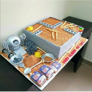 See the lovely cake a wife gave to her husband who is a bricklayer (Photo)