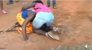 Lady Stripped Naked While Fighting With Rival In Public. (See Photos)