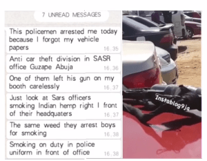 Police Officer abandons his gun to smoke weed in front of SARS headquarters in Abuja (Video)