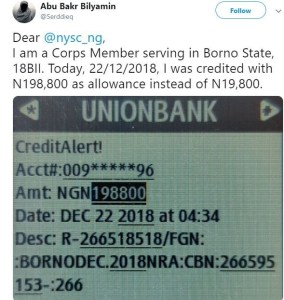 Honest Corp member reports to NYSC after he was credited N198,800 instead of N19,800