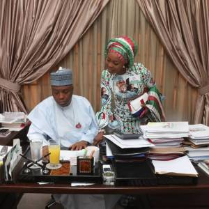 Check out lovely photo of Saraki and his wife in his office