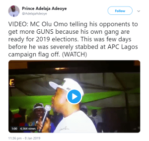 APC Lagos rally violence: MC Oluomo telling his opponents get more guns (Video emerges)