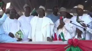 Watch The Moment PDP Leaders Collapsed On Stage During Campaign in Kebbi (Video)