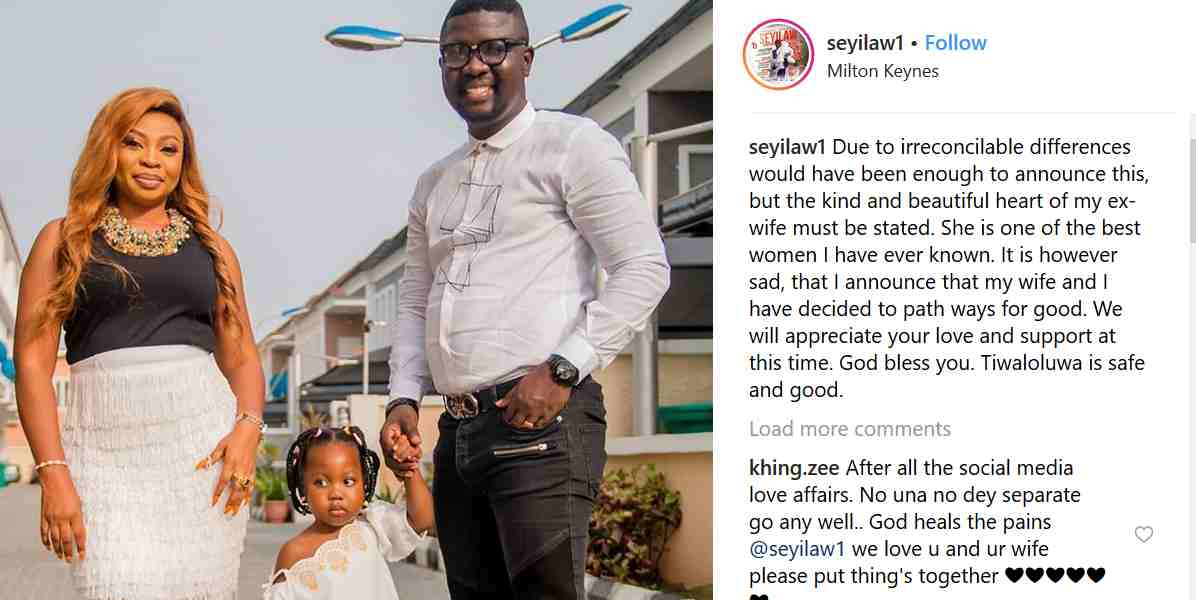 , SAD!! Comedian Seyi Law splits from his wife after 8 years of marriage, Effiezy - Top Nigerian News & Entertainment Website