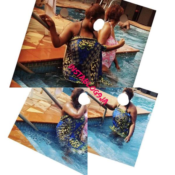 , LOL!! Nigerian Lady Goes Swimming With A Wrapper (Photo), Effiezy - Top Nigerian News & Entertainment Website
