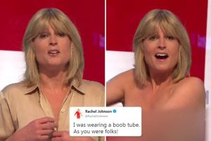 TV Presenter, Rachel Johnson Goes Topless On Live TV Show During Brexit Discussion (Photo)