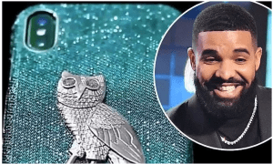 Check out Drake's $400,000 iPhone case made of 18-karat gold with blue and white diamonds. (Photos)
