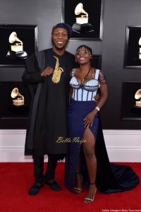 #GRAMMY: Seun Kuti and wife, Yetunde George stuns in 2019 Grammy's red carpet (Photos)