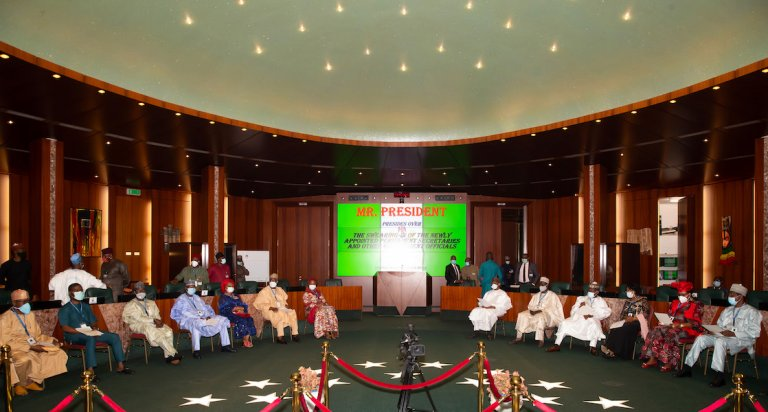 Buhari Swears in 12 New Permanent Secretaries, Buhari swears in 12 new Permanent Secretaries, Effiezy - Top Nigerian News & Entertainment Website