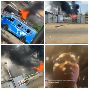Angry Mob attack TVC premises, set cars and other properties on fire (See clips)