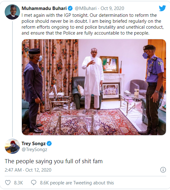 """""""The People Say You Are Full Of Sh*t"""" – American RnB Singer, Trey Songz Slams President Buhari (Photo)"""