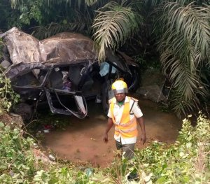 Two women die as vehicle plunges into swampy ditch in Ogun
