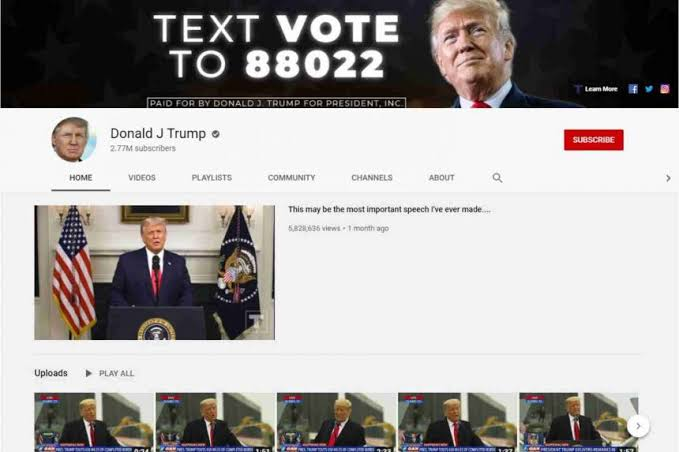 , YouTube suspends Trump's channel for 7 days, Effiezy - Top Nigerian News & Entertainment Website