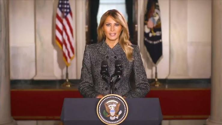 , Melania Trump gives farewell speech, says 'violence is never the answer' (video), Effiezy - Top Nigerian News & Entertainment Website
