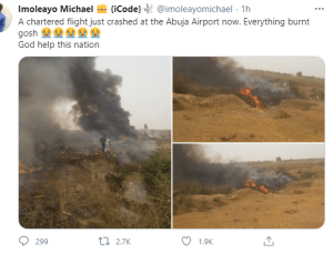 BREAKING: Aircraft reportedly crashes in Abuja, all passengers killed (Video + Photos)