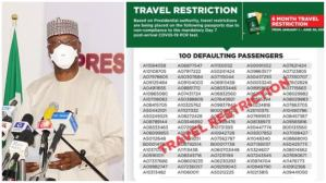 FG places travel restrictions on 100 Nigerians for flouting COVID-19 guidelines, releases passport details