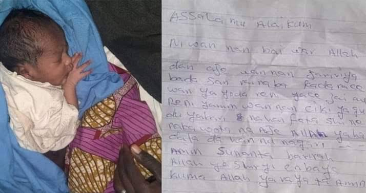 Mother dumps her newborn baby along the road with a written note in Katsina