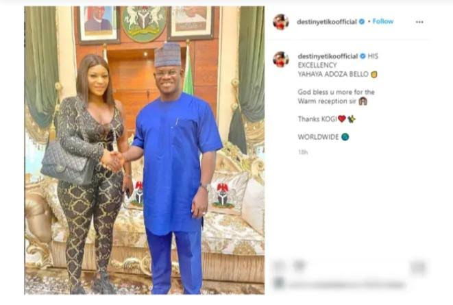 , You went to seduce him? – Nigerians drag actress, Destiny Etiko over the outfit she wore to pay Gov, Yahaya Bello a visit, Effiezy - Top Nigerian News & Entertainment Website