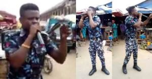 Police officer spotted in his uniform preaching at a market